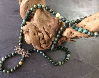 Necklace -  African turquoise necklace -  silver and gold necklace - beaded necklace