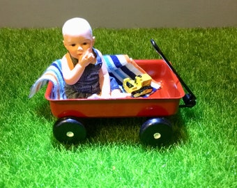 Dollhouse Miniature Little Boy In a Red Wagon 1:12 Scale