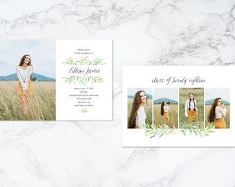 Printable Double Sided Watercolor Foliage Greenery Leaves Modern Photo Card Graduation Invitation or Announcement