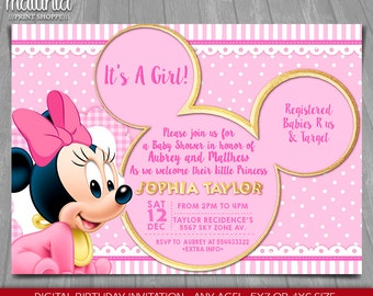 Baby Minnie Mouse Baby Shower Invitation Baby Princess