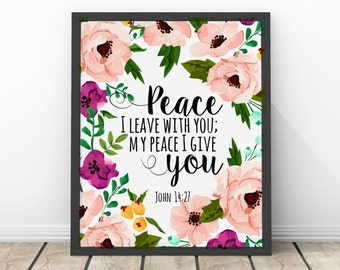 Peace I Leave With You John 14 27 Bible Verse   Digital Print Instant Art INSTANT DOWNLOAD
