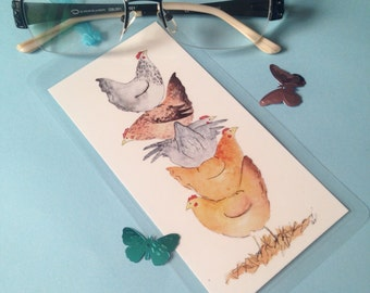 Handmade bookmark, fun chicken tower watercolour illustration, laminated, blue ribbon, gift for book lovers readers