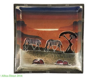 Stone Plate Kisii Zebras Square Kenya Africa 8 Inch 103296