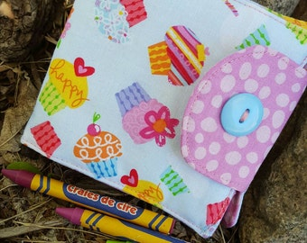 Cupcake Crayon Wallet, Girl's  Billfold, Crayon Holder, Crayon Roll, Girls Crayon Roll