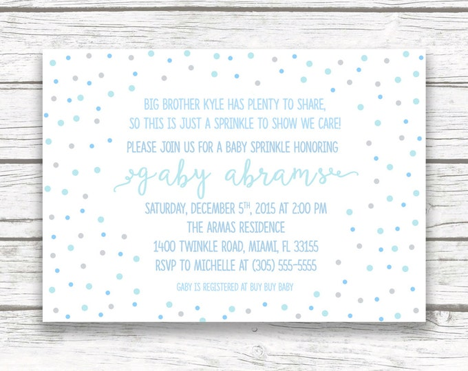 Blue Baby Boy Sprinkle Invitation, Blue and Gray Confetti Baby Boy Shower, Blue Ombre Sprinkle, Printed or Printable Invite
