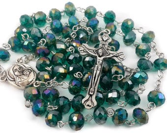Unique Green Beads Crystals Rosary Catholic Necklace Holy Soil Medal & Crucifix
