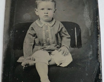 Tintype Photo Barefoot and Cute Little Boy