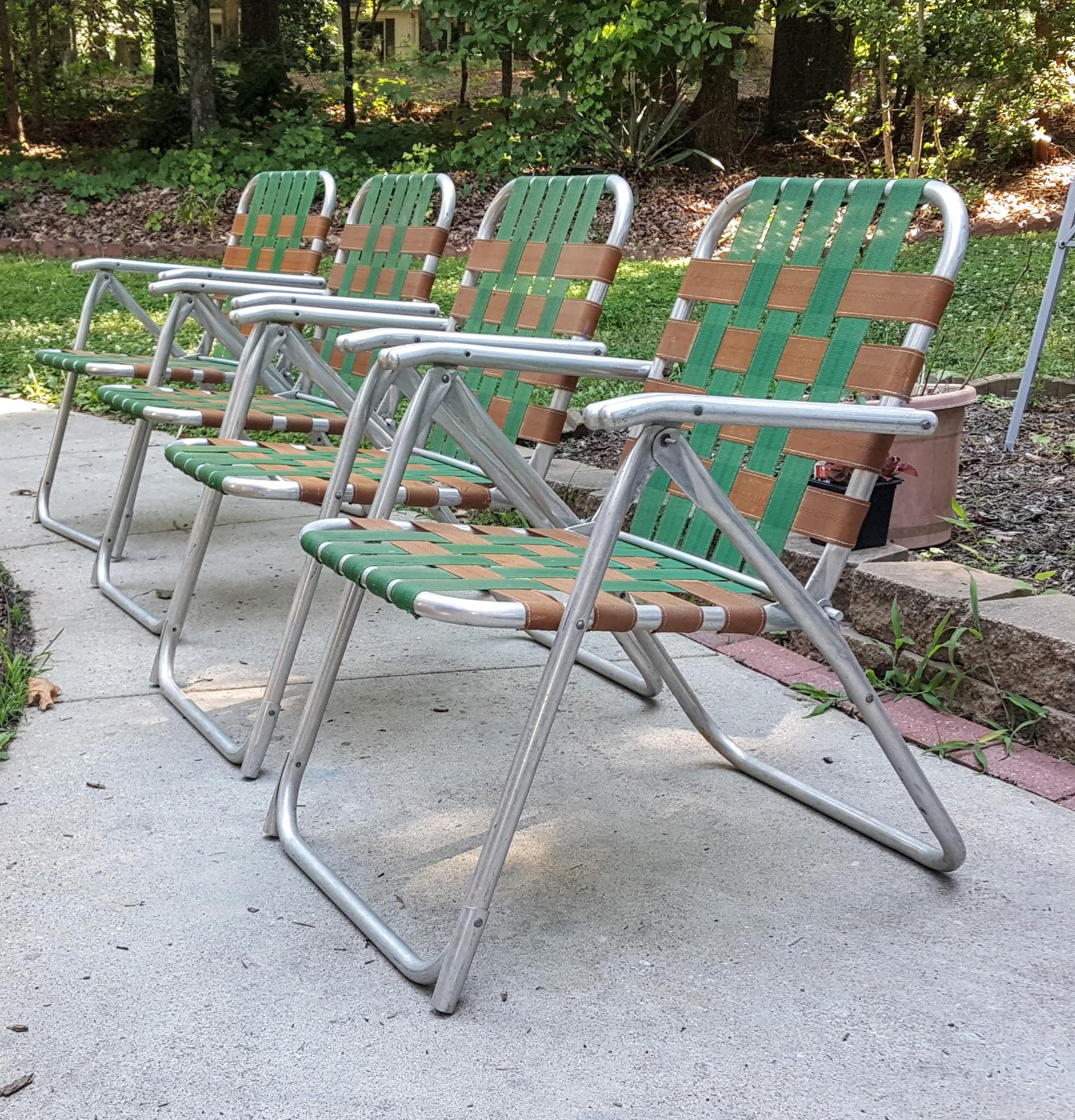Retro Mid Century Folding Lawn Patio Chairs Set of 4 Woven