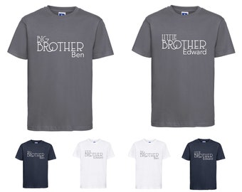 Big Brother / Little Brother Name Kids Tshirt Gift Personalised Custom Personalized Sibling Tshirt Kids Brother Tshirt