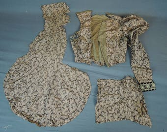 Antique Dress Remnants Partial Silk Victorian Bodice and Scraps, As Is, Vintage Print fabric