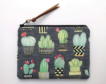 Cactus zipper pouch - potted cacti purse - cute makeup bags - cosmetic pouch bag - gray fabric purses - small gifts for women