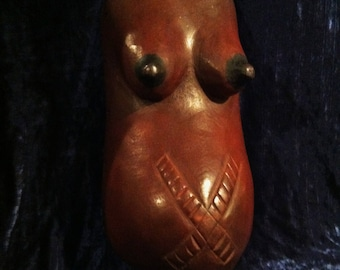 Vintage Hand Carved Makonde Fertility Mask From Africa