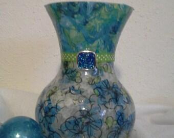 Blue Buttercups vase, Spring, mother's day gift, handmade gift