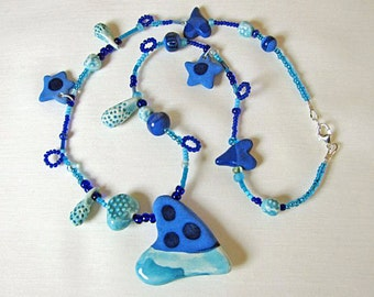 Blue Sweetheart Necklace Handmade Beads