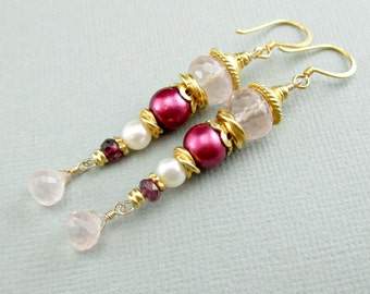 Rose Quartz Pearl Earrings Rose Quartz Gold Earrings Long Dangle Earrings Multi Gemstone Earrings Stacked Earrings Red Garnet Quartz Drop