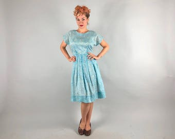 Vintage 1950s 1960s Dress | 50s 60s Pale Sky Blue Abstract Rose Print Cotton-Blend Voile Dolman Sleeve Day Dress | Large