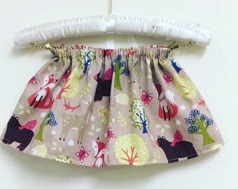 Woodland skirt, girls skirt, baby skirt, lace trim, elasticated waist, autumn skirt 2-3 years