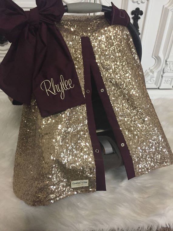 Gold  and Burgandy sparkle car seat canopy with bow and name / carseat cover / carseat canopy / ooak / sequin / infant car seat cover / gold