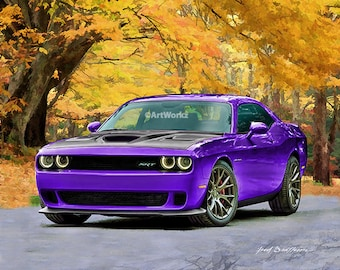 Hot Rod Art - Dodge Challenger Hellcat – Plum Crazy - Muscle Car  Print - Auto Art  8x10 Giclee Print - 11x14 Mat - AW91