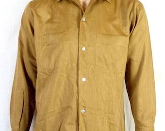 vtg 50s Richman Bros SHARKSKIN Irridescent Gold Dress Shirt ROCKABILLY square M