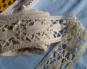 3 yards + Home Decor Crocheted Lace Long Beige Cotton French Shelf Edging Home Decor Lace #sophieladydeparis