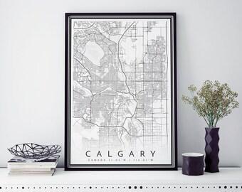 Calgary Map, Minimalist Map Print, Minimal Map, Calgary Poster, Modern Map Print, Modern map art poster in size 50x70cm fits Ikea frame