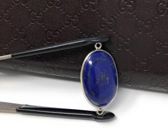Lapis Lazuli, Gemstone Connector, Lapis Lazuli Connector, Bezel Connector, Jewelry Supplies, Jewelry Making, Jewelry Findings, 31.5x16.5x5mm