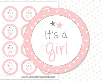 Its a girl tags (INSTANT DOWNLOAD) - Its a girl stickers - Gender reveal stickers - Gender reveal party