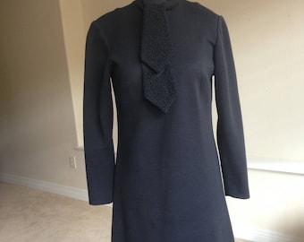 Black Virgin Wool Dress Faux Persian Lamb Trim 1960