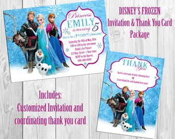 Disney Frozen Birthday Invitation & Thank You Card Package