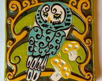 Owl Art Nouveau Inspired Art Tile