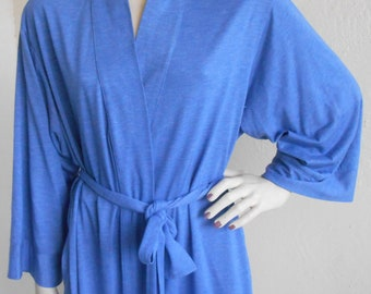 Natori Dressing Gown Blue Jersey Robe Size Large