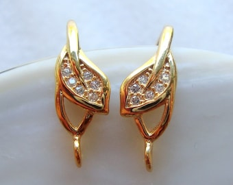 18K Gold on 925 Sterling Silver Tiny Leaf  White Diamond CZ Ear wire with closed loop,1 pair - 18x10x6mm - EW-0023