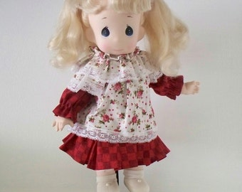 Vintage Precious Moments Doll with Brand New Dress, rescued doll