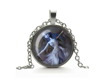Corpse Bride Necklace, Emily Moon Dance Pendant, Glass Cameo Cabochon, Tile Necklace Jewellery, Gothic Jewelry, Gift For Her, Tim Burton