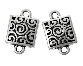 x 2 connect 23 mm silver metal square filigree.