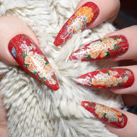 Red Fake Nails, Extra Long Shaped Coffin False Nails, Hand Painted ...