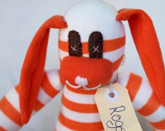 Sock rabbit, sock animal, soft plush toy bunny. Roger Rabbit. Softie bunny rabbit.
