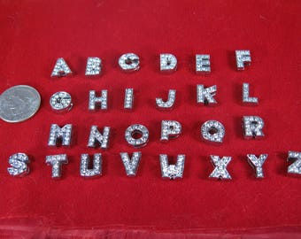 """26pc """"alphabet"""" 8mm slide charms in antique style silver (BC1368)"""