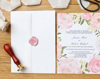 Wedding Invitation Suite - The Garden Rose Collection - Classic Wedding Invitations  - Floral Wedding Invitations