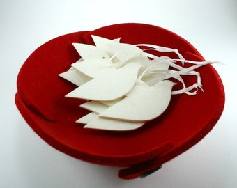 Small Felt Bowl in 5mm Thick Virgin Merino Wool Felt-CHERRY