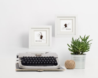 Christmas Bathroom Signs / Buck & Does Signs / Christmas Signs / Printable Bathroom Signs / Buck Sign / Doe Sign / Reindeer Christmas Signs