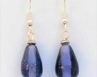 Blue Glass Teardrop Earrings With Sterling Silver Hooks LB129