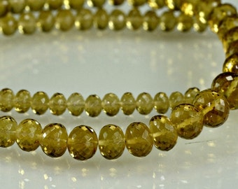 Honey Quartz Rondelles AAA Micro Faceted Honey Quartz Rondel Beads 3-6mm, 8 inches
