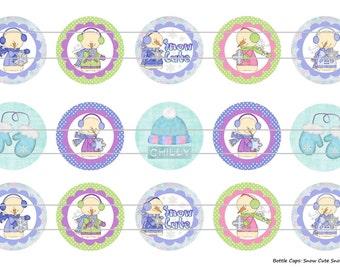"""15 Snow Cute Snowman Digital Download for 1"""" Bottle Caps (4x6)"""