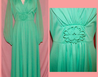SALE 1960s/70s Seafoam evening gown with sheer sleeves