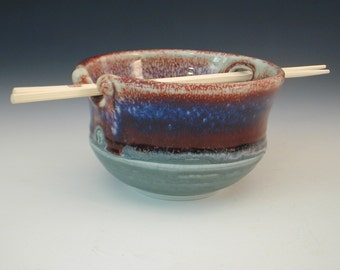 Handmade  Porcelain Pottery Ricebowl Wheel Thrown  with Chopsticks
