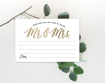 Advice Cards, Wedding Advice Template, Advice Printable, Advice for Bride and Groom | No. EDN 5127A Gold
