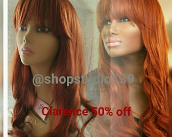 Auburn  Custom color and made wig with bangs 24inches