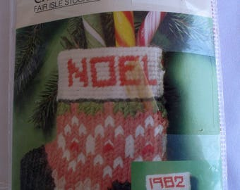 Vintage Bernat Fair Isle Stocking Christmas Ornament Needlepoint Stitchery Kit New Unopened 1982